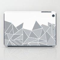 Abstract Mountain Grey on White iPad Case