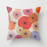 Spiral Flowers Throw Pillow