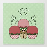 Cute Monster With Red And Green Frosted Cupcakes Canvas Print