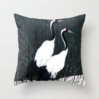 Japanese Cranes / Sayuri Throw Pillow