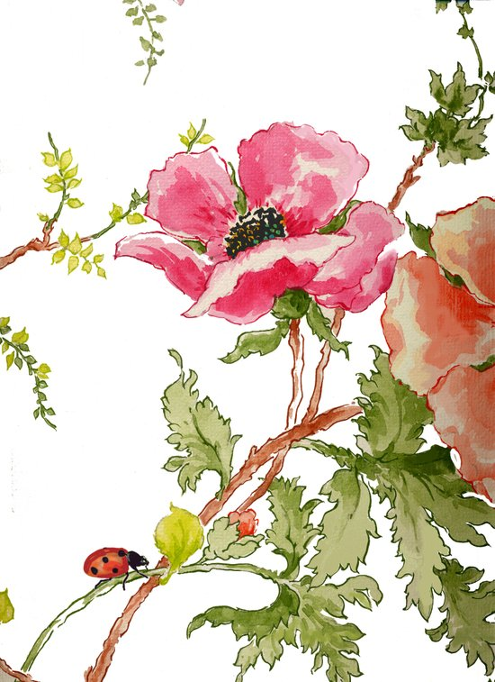 The Poppy and the Ladybug floral Art Print