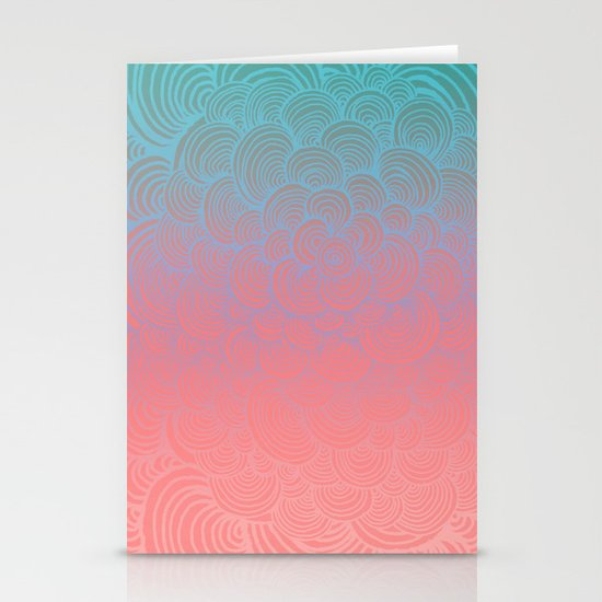 Ombre Clam Shells - Mint, Peach, Purple and Pink Stationery Card