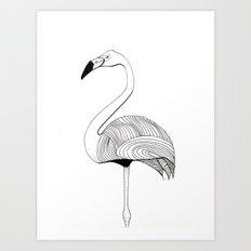 Flamingo Sketch Art Print