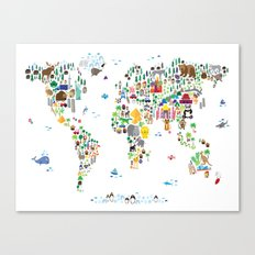 Animal Map Of The World … Canvas Print