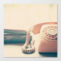 Close up Pink Retro Telephone Canvas Print