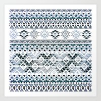 GEO TRIBAL N. // GRAY VE… Art Print