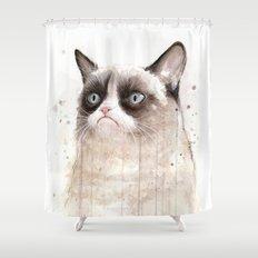 Grumpy Watercolor Cat II Shower Curtain