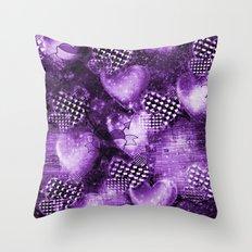 Light Bulb Hearts Series (purple) Throw Pillow
