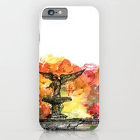 iPhone & iPod Case featuring Central Park: Bethesda Fountain by mendydraws