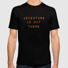 ADVENTURE IS OUT THERE Mens Fitted Tee Black SMALL