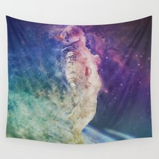 Astronaut dissolving through space Wall Tapestry