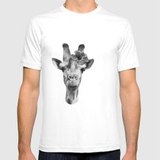 Portrait of Giraffe SMALL Mens Fitted Tee White