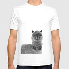 Portrait of Alpaca SMALL White Mens Fitted Tee