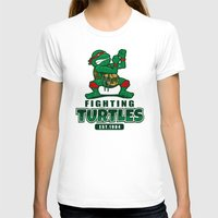 Fighting Turtles Womens Fitted Tee White SMALL