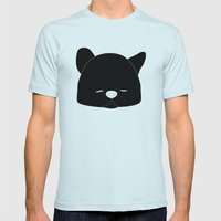 Pussy Gato Black Mens Fitted Tee Light Blue SMALL