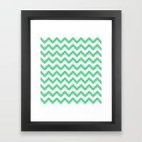 funky chevron mint pattern Framed Art Print