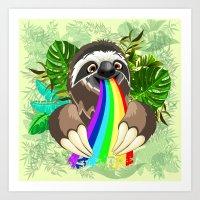 Sloth Spitting Rainbow Colors Art Print