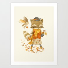 Rebecca the Radish Raccoon Art Print