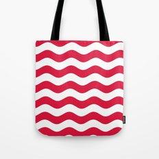 Wavy Stripes (Crimson/White) Tote Bag