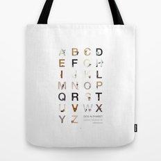 Dog Alphabet Tote Bag