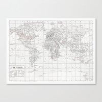World Map ~ White on White Canvas Print