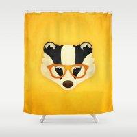 Hipster Badger: Gold Shower Curtain