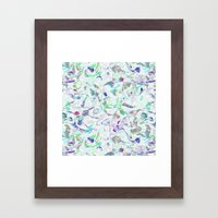 Marbled in blues Framed Art Print