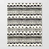 Tribal Vintage Stripe Bl… Canvas Print