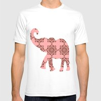 Floral Brown And Pink El… Mens Fitted Tee White SMALL