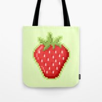Pixel Strawberry Tote Bag