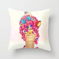 Ice-Cream Zombie Girl Throw Pillow