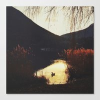 Sunset by the lake Canvas Print
