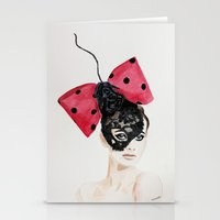 Debry Hat. Black Lace Head Piece. Stationery Cards