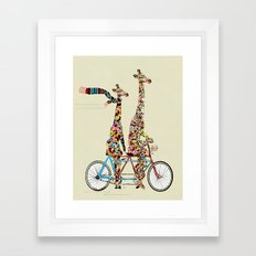 Giraffe Days Lets Tandem Framed Art Print