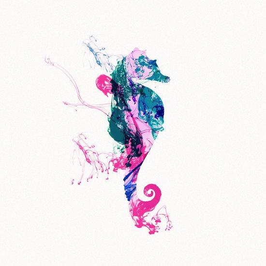 Colorful Watercolor Sea horse Pink Blue Splatters Art Print