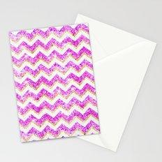 Chevron Pattern Girly Gold Purple Pink Glitter photo Stationery Cards