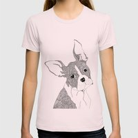 French Bulldog Womens Fitted Tee Light Pink SMALL