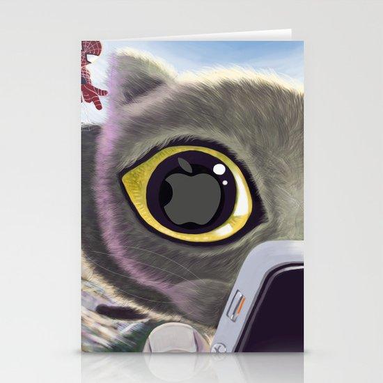 Falling Cat & Hero Stationery Card