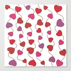 Shower Hearts On White Canvas Print