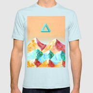 MOUNTAINOUS 2 Mens Fitted Tee Light Blue LARGE