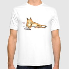 The Cat Relaxes White Mens Fitted Tee SMALL