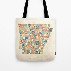 Arkansas by County Tote Bag