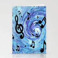 Musical Blue Stationery Cards