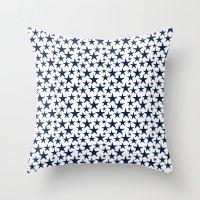 Blue stars on white background illustration Throw Pillow