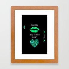 Kiss My Lips and I'll Kiss Your Heart (black) Framed Art Print