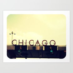 Chicago Skyway ~ Vintage Mid-Century Tollbridge Sign Art Print