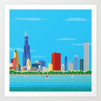 8-bit Pixel Chicago Skyl… Art Print