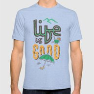 Life Is Good Mens Fitted Tee Tri-Blue SMALL