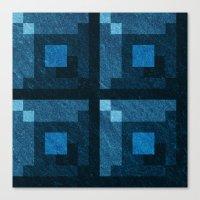 Blue Green Pixel Blocks Canvas Print