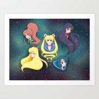 Sailor Moon and the Inner Senshi Art Print